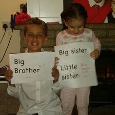 I love how happy they are xxx #babynumber3 #bigbrotherandbigsister  #happysiblings #babyanniucements