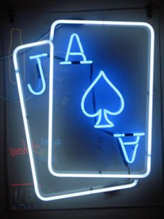 blue black neon playing cards casino theme party pinterest neon color splash and neon signs. Black Bedroom Furniture Sets. Home Design Ideas