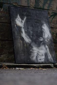 """painting title: """"war child"""" (inscription) Keep calm those kids don't cry loudly. • charcoal, nitro, acrylic on plywood  Pl.  tytuł :""""dziecko wojny"""" (inskrypcja) spokojnie, te dzieci glosno nie placzą •węgiel, nitro, akryl na sklejce"""