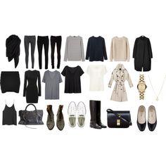 "Minimal + Classic: ""Basics for 5 piece french wardrobe"" by trenchcoatandcoffee"