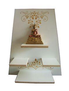 Pooja Door Design, Interior Design Kitchen, Interior Decorating, Meditation Room Decor, Buddha Decor, Temple Design, Puja Room, Tanjore Painting, Wall Shelves
