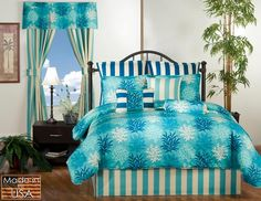 New St. Barts Ocean Bedding Set Breath of sea air! Ocean Bedding, Tropical Bedding, Beach Bedding Sets, Comforter Sets, King Comforter, Pool Bed, Buy My House, Beach House Decor, Home Decor