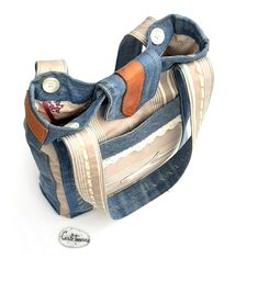Denim And Co, Denim Bag, Unique Bags, Beige, Upcycle, Recycling, Upholstery, Etsy, Jeans