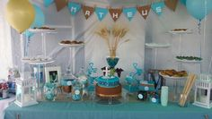 Beautiful Turquoise and brown decoration for 1st Communion !