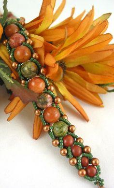Harvest Inspired Peach Green Handmade beaded Gemstone bangle bracelet