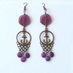 Boucles d'Oreilles Pendantes Perles Breloques Dentelle, Séquins, Ancre de Bateau : Boucles d'oreille par bleuluciole