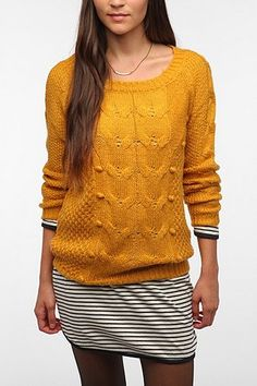 Pins and Needles Bobble Knit Sweater - Yellow from UrbanOutfitters.com | Shop UrbanOutfitters.com through shop.fuelrewards.com and earn 1X the Fuel Rewards savings!
