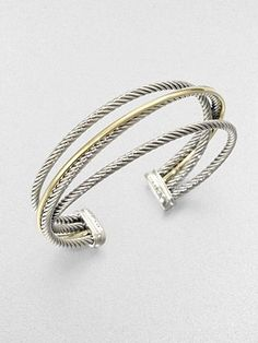 David Yurman Sterling Silver & 18K Gold Cuff Bracelet
