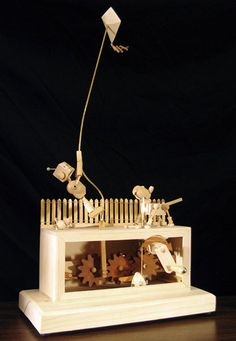 A Boybot and His Dogbot Automaton - Dug North Kinetic Toys, Kinetic Art, Wood Sculpture, Sculptures, Marionette Puppet, Puppets, Wood Crafts, Paper Crafts, Creepy Toys