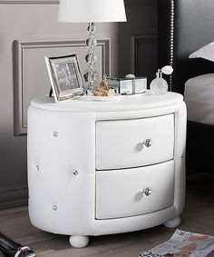 Take a look at this Oval Two-Drawer Quilted Nightstand today!