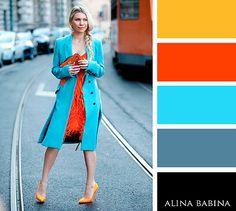 Light blue + orange, camel, grey, black
