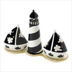 Lighthouse  Sailboats salt and pepper