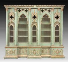 Italian Gothic Revival Bookcase/Cabinet