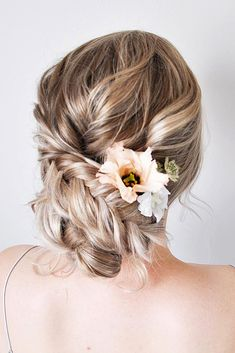 swept back wedding hairstyles low updo with braid nicole drege via instagram
