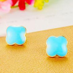 wonderful #earrings, four leaf clover http://www.beads.us/product/Zinc-Alloy-Stud-Earring_p218937.html?Utm_rid=219754