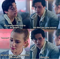 Get yourself a Jughead who loves you more than burgers & & The post Get yourself a Jughead who loves you mor& appeared first on Riverdale Memes. Riverdale Netflix, Riverdale Archie, Bughead Riverdale, Riverdale Funny, Riverdale Wallpaper Iphone, Riverdale Quotes, Riverdale Betty And Jughead, Lili Reinhart And Cole Sprouse, Riverdale Cole Sprouse