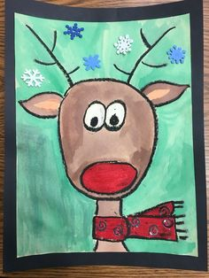 Directed reindeer drawing using oil pastels and water colors. Christmas Drawings For Kids, Tree Drawing For Kids, Kids Christmas, Reindeer Drawing, Winter Drawings, Winter Art Projects, Kindergarten Art, Reno, Xmas Crafts