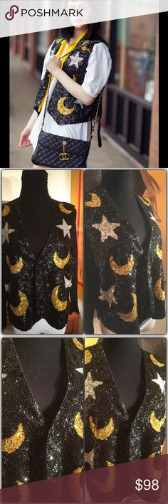 """Boho Glam Celestial Sequin Vest Found this treasure at a coveted vintage warehouse frequented by designers. Very well made. No tags. Lined in what appears to be cotton with a satin back. In excellent vintage condition. I found one slightly loose Sequin which I tried to capture in the close up. Amazing piece. Rock it up or down. Measures 20"""" pit to pit. Best for medium although a small could wear it oversized for a more funky look approx 20"""" long . Vintage Tops"""