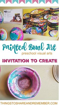 The painted bowl Invitation to Create from Mother Goose Time's Baby Animals theme is one of my favorite ever. It was from Day 11 Veterinarian Visit. The idea is that we care for pets by feeding them. Pets need a bowl for food and water. I felt this bowl a