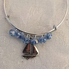 Sail Boat Charm And Crystal Silver Tone Adjustable Wire Bangle Bracelet by cbfcreationsHB on Etsy