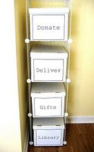 "Storage bins for items that are ""just passing through"" your home (donate, deliver, gifts). Baskets would work well too."