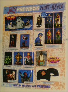 BUST/FIGURE/STATUE POSTER:BATMAN/PUNISHER/LEGION OF SUPER-HEROES/AVENGERS CAPTAIN AMERICA: Here's 1 of our many rare MARVEL & DC COMICS MERCHANDISE PROMOTIONAL POSTERS that were never for sale to the public! Each Previews promo poster shows items like Bowen busts, statues, action figures, tv & movie items, toy cars, model kits, maquettes, mini-mates, and MORE! $40.00