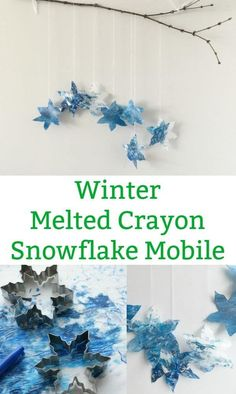 Make a beautiful winter melted crayon snowflake mobile - A lovely winter craft for kids to make. Gather up your old crayons and snowflake cookie cutters to make a beautiful snowflake mobile. Winter Activities For Kids, Winter Crafts For Kids, Winter Kids, Crafts For Kids To Make, Kids Crafts, Science Activities, Winter Holidays, Snowflake Cookie Cutter, Snowflake Craft