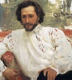 Portrait of Leonid Andreyev, 1904, by Ilya Repin. Typical Russian peasant style shirt.
