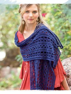 I want this one!  This crochet shawl uses mini-patterns to offer a modern take on Tudor fashion, worked in crisp linen yarn with excellent stitch definition.