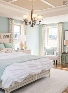 I really love the look for this beautiful room.  This design scheme can be easily done in any  room of your home.  I love how the  decorative accents make the room stand out.   However I elevate this by including more wall art to complete the  overall home décor theme.   Indeed this  room is truly an inspiring place         South Shore Decorating Blog: 30 Relaxing Powder Blue Bedrooms