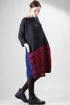 Daniela Gregis washed wool gauze midi dress with tartan and solid colour…