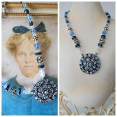 """Handcrafted Assemblage One of a Kind Blue Rhinestone Pendant Necklace Appx 17"""" #Handmade #Pendant"""