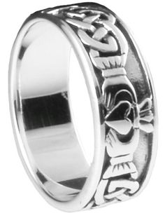 Cut Out Claddagh 925 Sterling Silver Band Rings For Men