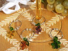 Cassiani Collection 2815 Murano Art Deco Collection Grapes Design Wine Charms