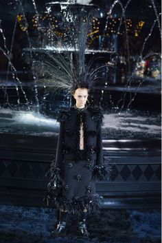 Spectacular and sinister outfit from #LouisVuitton in #ParisFashionWeek #SpringSummer2014
