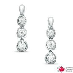 1.00 CT. T.W. Certified Canadian Diamond Dangle Earrings in 14K White Gold