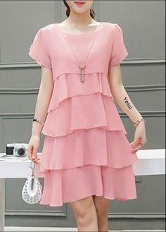 <img> Round Neck Short Sleeve Pink Tiered Dress Source by loveinsideandout - Cheap Maxi Dresses, Simple Dresses, Elegant Dresses, Cute Dresses, Short Sleeve Dresses, Summer Dresses, Dresses With Sleeves, Chiffon Dresses, Chiffon Saree