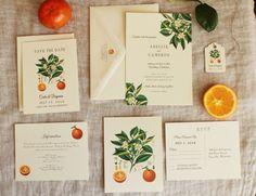 Orange Blossom Wedding Invitation Suite Vintage Botanical