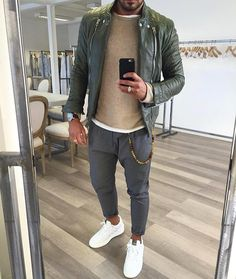 """ROYAL FASHIONIST on Instagram: """"#green leather jacket and valentino #sneaker by @vincenzoragnacci [ www.RoyalFashionist.com ] #royalfashionist"""""""