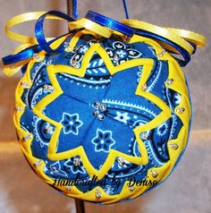 Grandmother's Quilts ~ Medium Blue and yellow   ~ Quilt looking fabric ornaments made by Handcrafted by Denise.