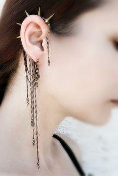 Spike Ear Cuff Wrap - Cuff Chain Earrings - Ear Cuff Spike - Contemporaray Jewelry - Punk Jewelry - Brass Jewelry - Victorian Gothic - Spike Ear Cuff Wrap Cuff Chain Earrings Ear Cuff by MayaHandmade - Punk Jewelry, Ear Jewelry, Brass Jewelry, Gothic Jewelry, Body Jewelry, Jewelry Accessories, Fashion Jewelry, Jewellery, Gothic Fashion