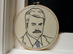 Ron Swanson embroidery from ktburrr on Flickr. Can't even handle this.