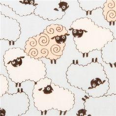 blue Cosmo double gauze sheep animal fabric