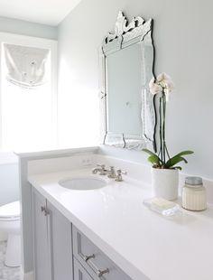 "2"" Carrara Marble Hexagon Floors || Benjamin Moore Coventry Gray Cabinets || Sherwin Williams ""Sea Salt"" Walls || BM ""Simply White"" Trim "" || Counters are a solid white quartz |"