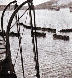 Troops in tow - before landing Gallipoli 1915