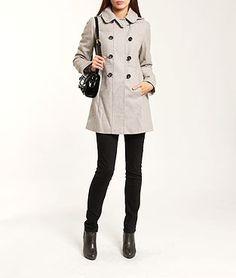 Manteau double boutonnage avec capuche, laine majoritaire EASY GRIS CLAIR Etam 65€