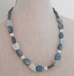 Blue necklace blue jewelry agate bead necklace shells