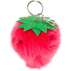 Strawberry Pom Pom Scented Key Ring ($7.50) ❤ liked on Polyvore featuring accessories, filler and pom pom key ring