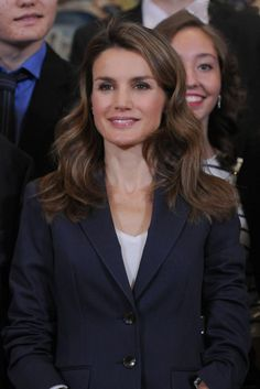 Spanish Princess Letizia attends an audience with members of the international youth project 'My Europe' at Zarzuela Palace on 25 Sep 2013 in Madrid, Spain.