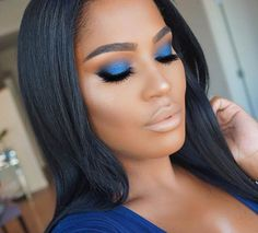 Blue Smokey Eye Makeup and Nude Lips for Dark Skin